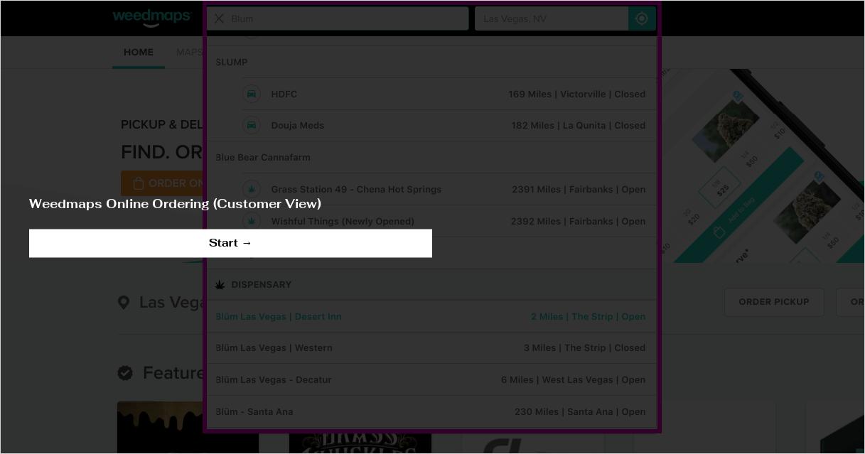 Weedmaps Online Ordering (Customer View)